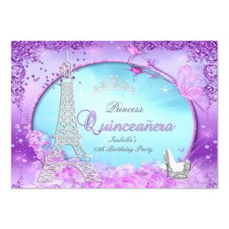 Princesa mágica Quinceanera Purple Teal Blue Invitación 12,7 X 17,8 Cm