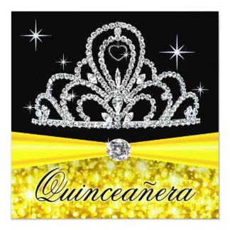Princesa negra amarilla Tiara Bling de Quinceanera Invitación 13,3 Cm X 13,3cm