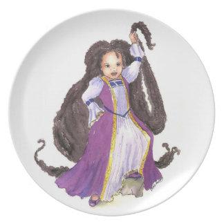 Princesa negra de Rapunzel con la placa de las tor Plato De Comida