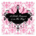 Princesa negra rosada fiesta de bienvenida al bebé comunicados personalizados