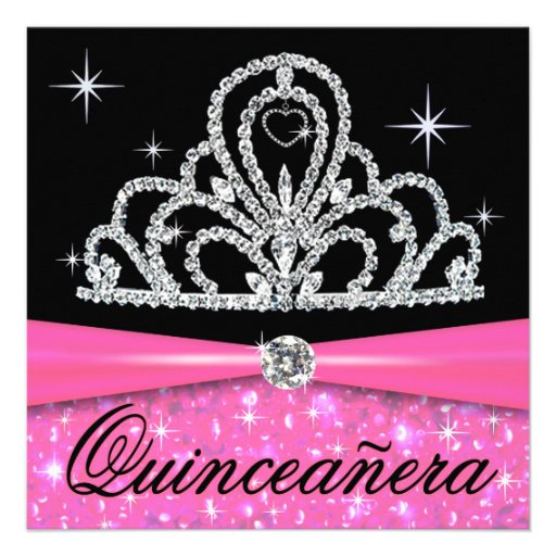 Princesa negra rosada Tiara Bling de Quinceanera Anuncios Personalizados