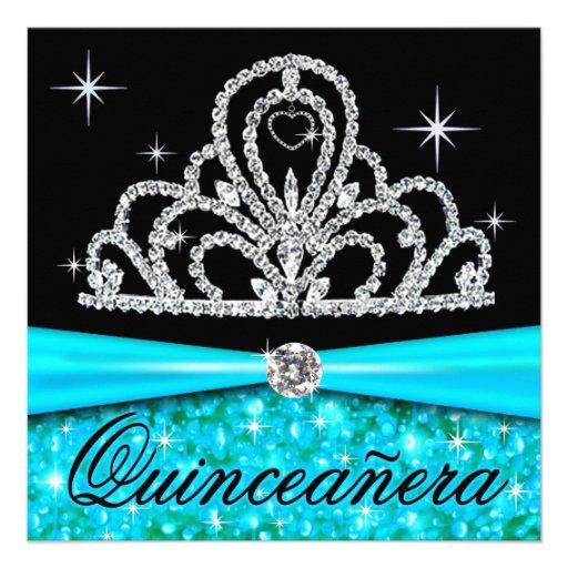 Princesa negra Tiara Bling de Quinceanera de la ag Invitaciones Personalizada