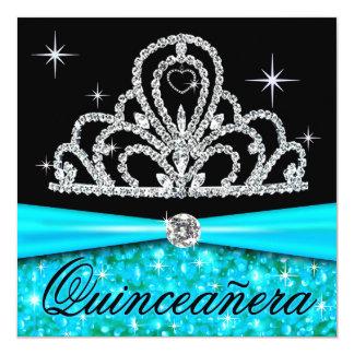 Princesa negra Tiara Bling de Quinceanera de la Invitación 13,3 Cm X 13,3cm