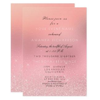Princesa nupcial brillante del brillo rosado invitación 11,4 x 15,8 cm