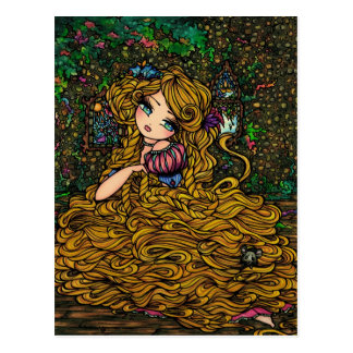 Princesa Original Art Postcard del guión de Rapunz Postal