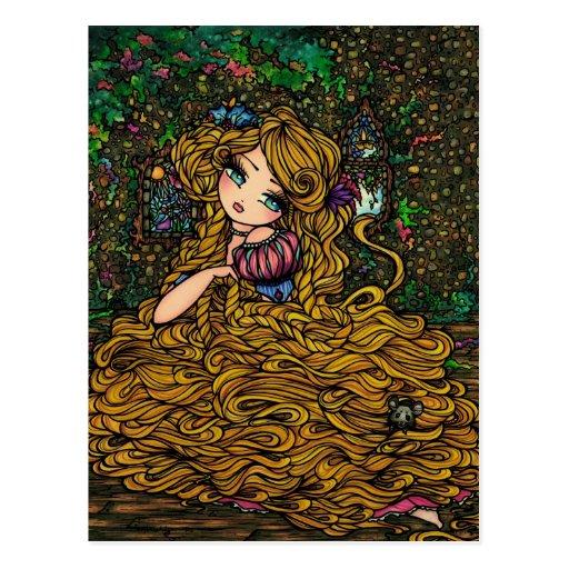 Princesa Original Art Postcard del guión de Rapunz Tarjetas Postales