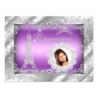 Princesa Purple Quinceanera Silver Photo GRANDE Invitación 16,5 X 22,2 Cm