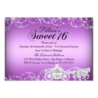 Princesa púrpura Sweet 16 del caballo y del carro Invitación 12,7 X 17,8 Cm
