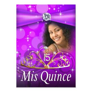 Princesa púrpura Tiara Photo de Quinceanera 15 Invitación 12,7 X 17,8 Cm