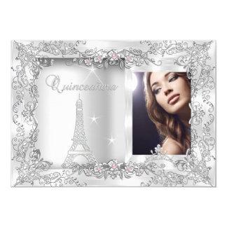 Princesa Quinceanera Silver Photo Party Invitación 12,7 X 17,8 Cm