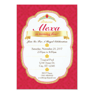 Princesa real Celebration Party Invitation (5x7) Invitación 12,7 X 17,8 Cm