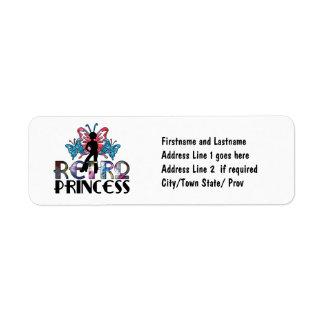 Princesa retra - hada de la mariposa del chica del etiqueta de remite