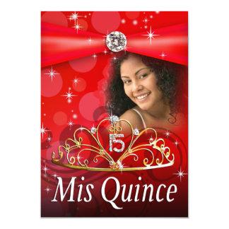 Princesa roja Tiara Photo de Quinceanera 15 Invitación 12,7 X 17,8 Cm