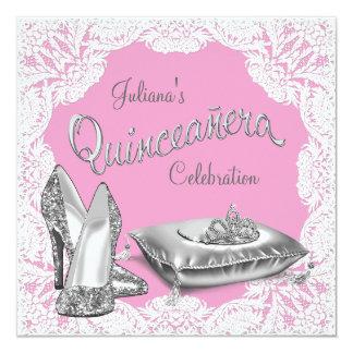 Princesa rosada bonita Quinceanera Invitacion Personal