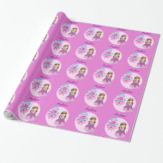 Princesa rosada de encargo linda Birthday Papel De Regalo