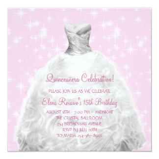 Princesa rosada elegante Quinceanera Invitación 13,3 Cm X 13,3cm