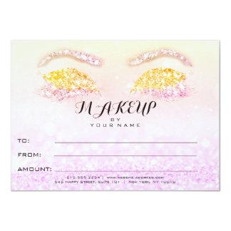 Princesa rosada Makeup Certificate Gift del brillo Invitación 11,4 X 15,8 Cm