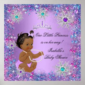 Princesa rosada púrpura azul fiesta de bienvenida póster