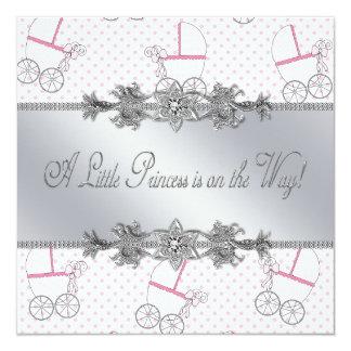Princesa rosada Shower de la niña del carro de Invitación 13,3 Cm X 13,3cm