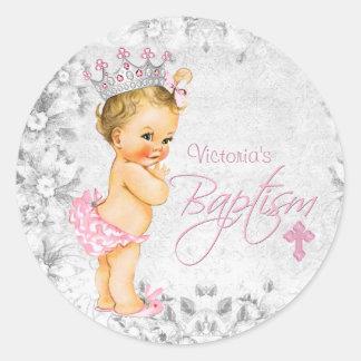 Princesa rosada y gris Baptism Pegatina Redonda