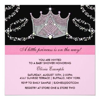 Princesa rosada y negra fiesta de bienvenida al invitación 13,3 cm x 13,3cm