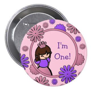 Princesa rosada y púrpura Birthday Button Pin