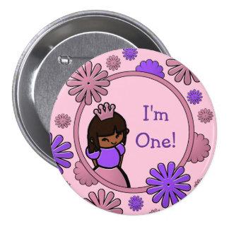 Princesa rosada y púrpura Birthday Button Pins