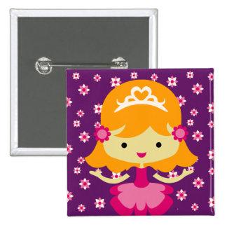 Princesa rubia Birthday Button Chapa Cuadrada