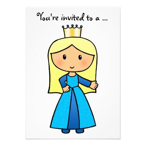 Princesa rubia linda Bridal Shower del clip art de Comunicado Personalizado
