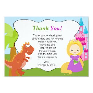 Princesa Thank You Card del dinosaurio Invitación 12,7 X 17,8 Cm