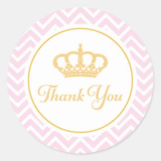 Princesa Thank You Tag Pegatina Redonda
