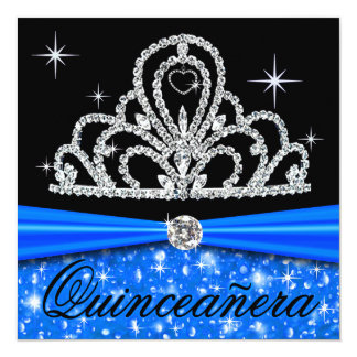 Princesa Tiara Bling de Quinceanera del negro azul Invitación 13,3 Cm X 13,3cm