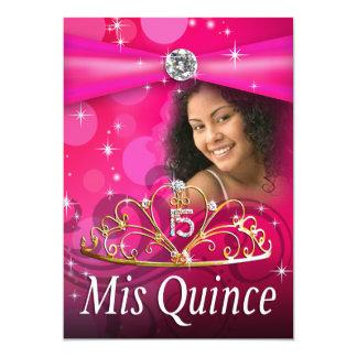 Princesa Tiara Photo de Fuschia Quinceanera 15 Invitación 12,7 X 17,8 Cm