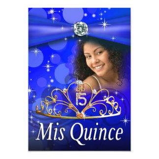 Princesa Tiara Photo de Quinceanera 15 del azul Invitación 12,7 X 17,8 Cm