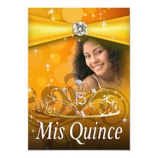 Princesa Tiara Photo de Quinceanera 15 del oro Invitación 12,7 X 17,8 Cm