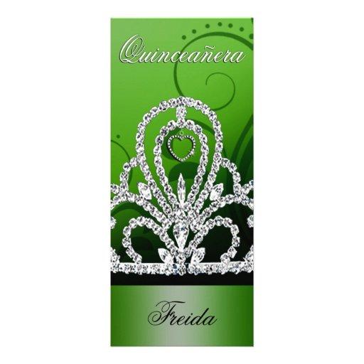Princesa Tiara Quinceanera (verde) Invitacion Personalizada
