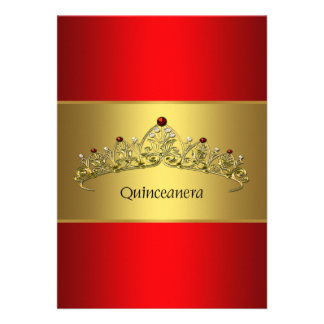 Princesa Tiara Red y oro Quinceanera