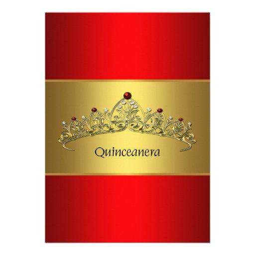 Princesa Tiara Red y oro Quinceanera Invitacion Personal