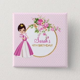 Princesa triguena bonita Birthday Button Chapa Cuadrada