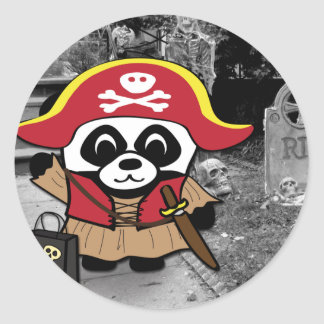 Princesa truco o invitación del pirata de la panda pegatina redonda