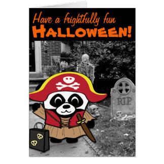 Princesa truco o invitación del pirata de la panda tarjeta de felicitación