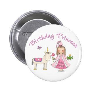 Princesa Unicorn Birthday Girl Chapa Redonda De 5 Cm