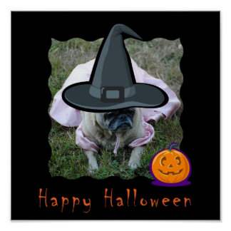 Princesa Witch Halloween Print del perro del barro Póster