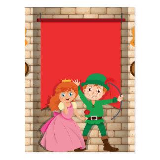Princesa y cazador delante de la bandera postal
