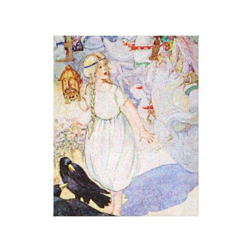 Princesa y cuervos rubios del chica del cuento de  impresiones en lienzo estiradas