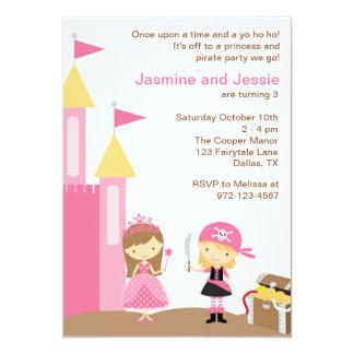 Princesa y pirata rosado invitación 12,7 x 17,8 cm