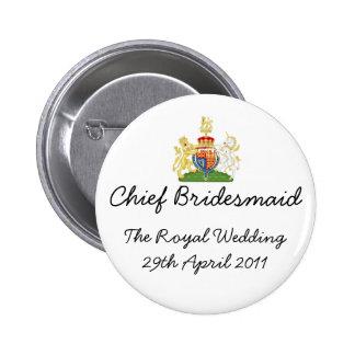 Principal dama de honor - insignia real del boda chapa redonda de 5 cm