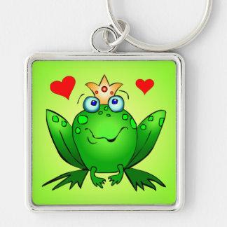Príncipe Crown de la rana y verde de los corazones Llavero Cuadrado Plateado