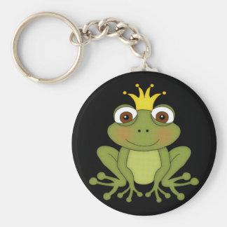 Príncipe de la rana del cuento de hadas con la llavero redondo tipo chapa