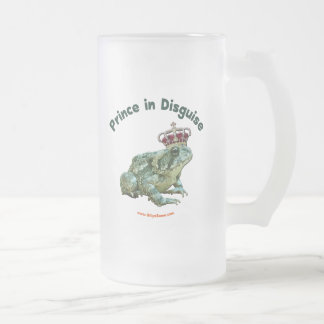 Príncipe de la rana del sapo en disfraz taza cristal mate